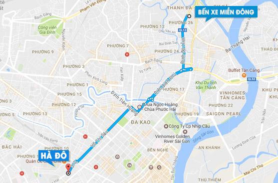 Xe buss xuất phát từ bến xe miền đông